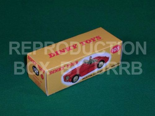 Dinky #103 Austin Healey 100 Sports - Reproduction Box ( Red with Grey Seats )
